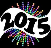 2015 New year background with rainbow hearts. On the black area royalty free illustration