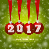 New year background with red balls and green bg eps 10  il Royalty Free Stock Photography