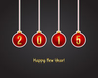 2015 New year background. With red balls on stickers Stock Images