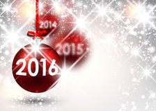 2016 New Year background. With red balls. Vector illustration Stock Images