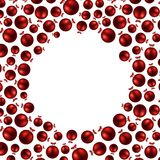 New Year background with red balls. White round New Year background with red Christmas balls. Vector illustration vector illustration