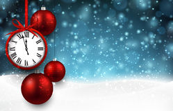 New year background with red christmas balls Royalty Free Stock Photography