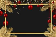 New Year background with red Christmas balls. New Year background with spruce branches and red Christmas balls. Vector illustration Royalty Free Stock Photos