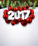 2017 New Year background. 2017 New Year background with red Christmas balls. Vector illustration Royalty Free Stock Image