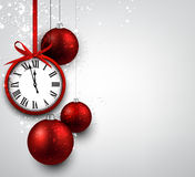 New year background with red christmas balls. Royalty Free Stock Images