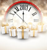 2017 New Year background. 2017 New Year background with red clock and gifts. Vector illustration Stock Photography