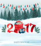 New Year background with a 2017 and sack with presents. Stock Photo