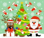 New Year background with Santa Claus and deer. New Year background card with  Santa Claus and deer Stock Image