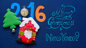 New Year background with Santa Claus, herringbone and congratulatory inscription Royalty Free Stock Images