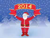 New Year background with Santa. Santa Claus holding New Year 2014 banner vector illustration