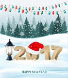 New Year background with a 2017 and santa hat. Vector Stock Photos