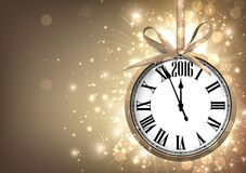 2016 New Year background. 2016 New Year sepia background with clock. Vector paper illustration Royalty Free Stock Photo