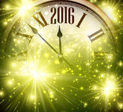 2016 New Year background. 2016 New Year shining background with clock. Vector illustration Royalty Free Stock Image