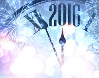 2016 New Year background. 2016 New Year shining background with clock. Vector illustration Royalty Free Stock Photos