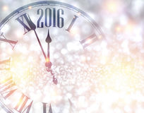2016 New Year background. 2016 New Year shining background with clock. Vector illustration Royalty Free Stock Images