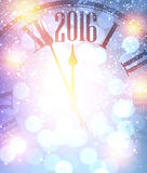 2016 New Year background. 2016 New Year shining background with clock. Vector illustration Stock Images