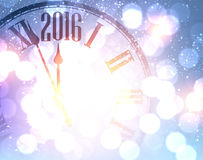 2016 New Year background. 2016 New Year shining background with clock. Vector illustration Stock Photo