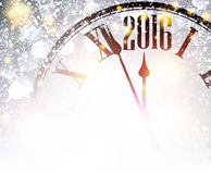 2016 New Year background. 2016 New Year shining background with clock. Vector illustration Royalty Free Stock Photo