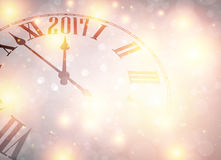 2017 New Year background. 2017 New Year shining background with clock. Vector illustration Royalty Free Stock Photography