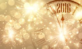 2016 New Year background. 2016 New Year shining background with clock. Vector illustration.r Stock Photos