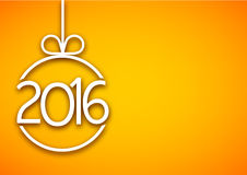 2016 New Year background. 2016 New Year sign on yellow background. Vector paper illustration Royalty Free Stock Photo