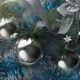 New year background with silver balls. Ribbons and blue tinsel. Square image royalty free stock photography