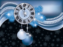 New Year background with silver clock. Vector illustration Royalty Free Stock Photos