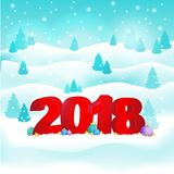 New Year background with 2018.Snow and green out with the snow and hills and trees with the words and balloons.Vector. New Year background with 2018.Snow and Royalty Free Stock Photography