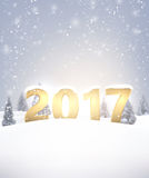 2017 New Year background with snow. Vector illustration Stock Photography