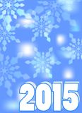 2015 - New year background with snowflakes in blue design. 2015 - New year abstract background with snowflakes in blue design Royalty Free Stock Images