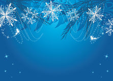 New Year background with snowflakes and fir tree Royalty Free Stock Photos