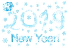 New year 2019 background with snowflakes and kiss. Vector. Illustration stock illustration