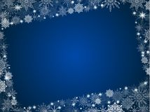 New Year background snowflakes with photo frame blue gradient of. Christmas Royalty Free Stock Image