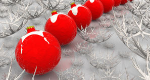 New Year background with snowflakes and red christmas balls. The three-dimensional illustration stock illustration