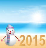 New Year 2015 background with a snowman. Illustration Royalty Free Stock Photo