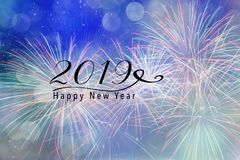 2019 New Year background for Social media. Fireworks against a blue background with bokeh and falling snow effect. Happy New Year 2019 quote Stock Photo