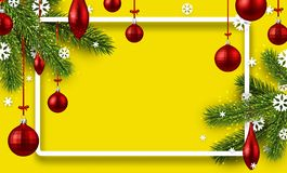 Yellow background with colorful Christmas balls. Royalty Free Stock Photo