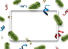 White Christmas background with serpentine. New Year background with spruce branches and colorful serpentine. Vector illustration Royalty Free Stock Image