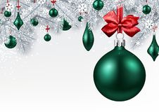 Background with green 3d Christmas ball. New Year background with spruce branches and emerald Christmas balls. Vector illustration Stock Images