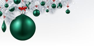 Background with green 3d Christmas ball. New Year background with spruce branches and emerald Christmas balls. Vector illustration Royalty Free Stock Images