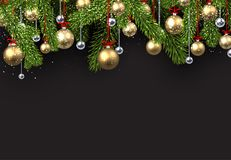 Christmas background with spruce branches. New Year background with spruce branches and golden Christmas balls. Vector illustration Royalty Free Stock Image