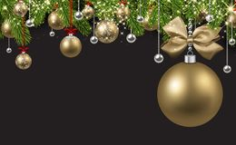 Grey background with golden Christmas ball. New Year background with spruce branches and golden Christmas balls. Vector illustration Royalty Free Stock Photo