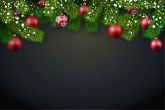 New Year background with spruce branches and red Christmas balls. Vector illustration Royalty Free Stock Image