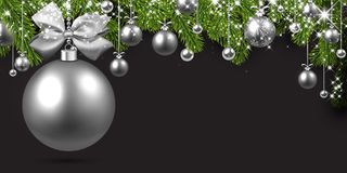 Grey background with silver Christmas ball. New Year background with spruce branches and silver Christmas balls. Vector illustration Royalty Free Stock Photos