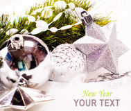 New year background with star decoration Stock Photo