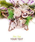 New year background with star decorations. For holiday design Stock Images