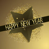 New year background with star and gold glitters Royalty Free Stock Photography