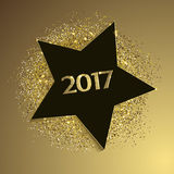 New year background with star and gold glitters Royalty Free Stock Image