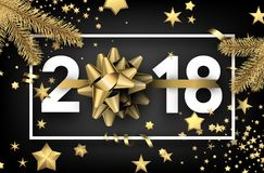 2018 new year background with stars. Grey 2018 new year background with gold stars and bow. Vector illustration Royalty Free Stock Photo