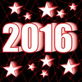 2016 New year background with stars on red polygonal grid Stock Photo